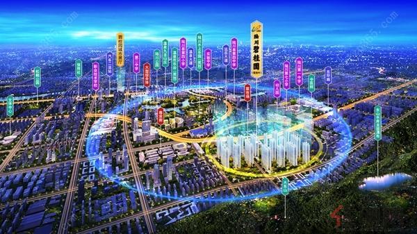 陆川碧桂园夜景鸟瞰图