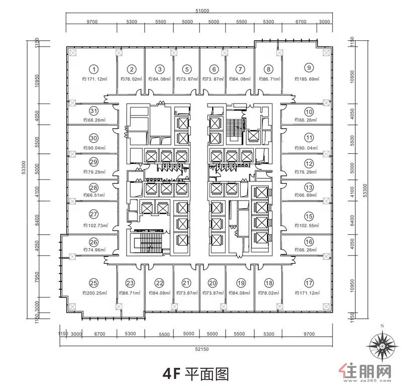 金投中心4F平面图0室0厅0卫66.26―200.25�O
