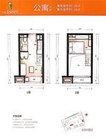 万科金域缇香万科米公寓1室2厅1卫28.00�O