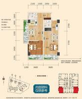 彰泰城1021-A#100.56�O(建面)户型1室2厅2卫100.56�O