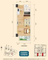 彰泰城1021-A#43.48�O(建面)户型1室1厅1卫43.48�O