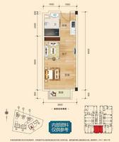 彰泰城1021-A#39.04�O(建面)户型1室1厅1卫39.04�O