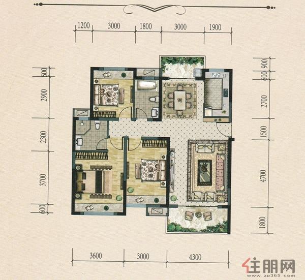 中地滨江壹�H户型・3室2厅2卫126.05�O