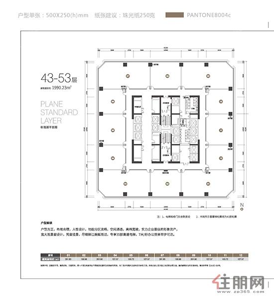地王国际财富中心写字楼43-53层0室0厅0卫0.00�O