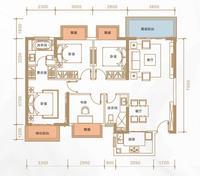 光明城市C户型4室2厅2卫122.00�O