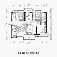 华润幸福里建面约143�O4室2厅2卫143.00�O