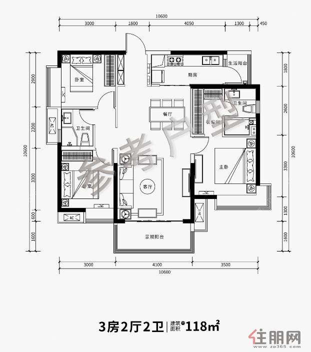 华润幸福里建面约118�O3室2厅2卫118.00�O