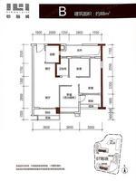 B户型3室2厅1卫88平米