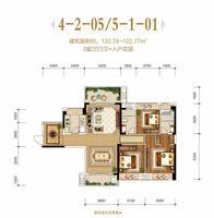 盛世嘉园4-2-05/5-1-013室2厅2卫122.74�O