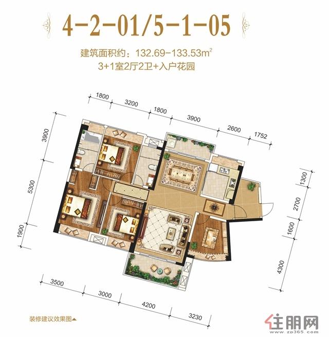 盛世嘉园4-2-01/5-1-054室2厅2卫132.69―133.53�O