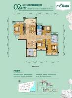 广汇东湖城6号楼2户型4室2厅2卫115.99�O