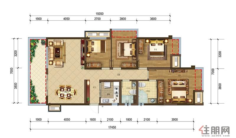 澜月府122�O户型4室2厅2卫122.01�O