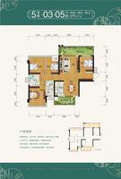 天健和府5号楼一单元03/二单元05户型 4室2厅2卫107.00�O