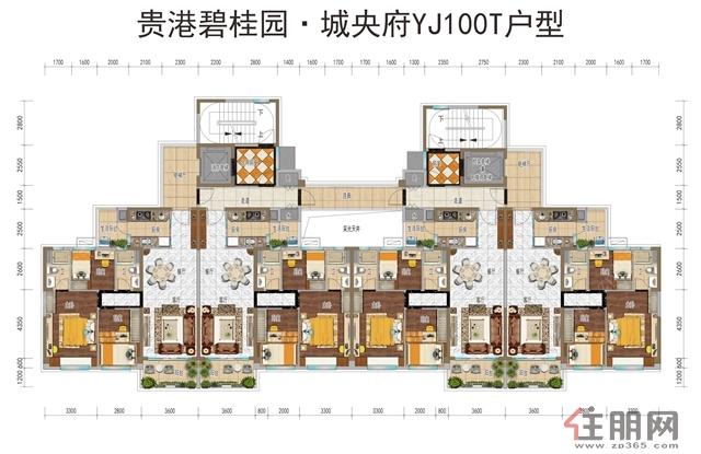 碧桂园・城央府YJ100T户型3室2厅2卫106.00―109�O