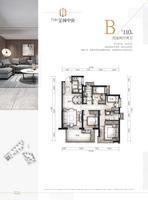 万科金域中央19和20#户型图B户型4室2厅2卫110.00�O