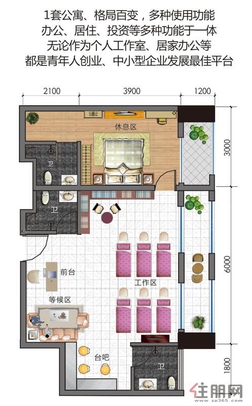 万丰・51区-富宁大厦B座93.34�O户型③1室0厅3卫93.34�O