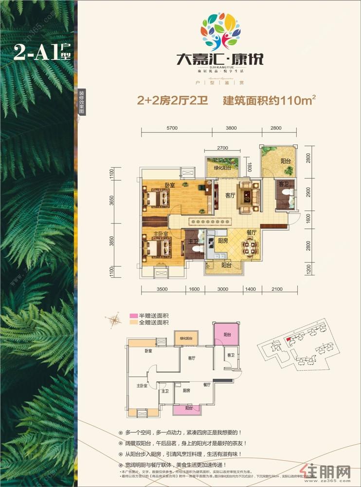 大嘉汇康悦2-A1户型4室2厅2卫110.00�O