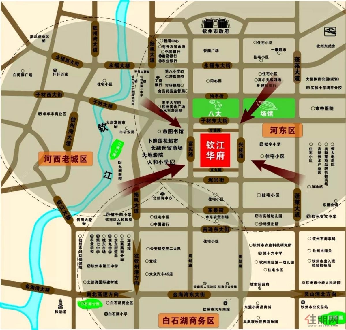 钦江华府交通图