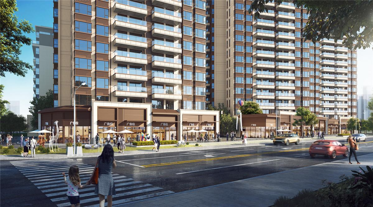 沿平沙路與江龍街轉角商業效果圖日景