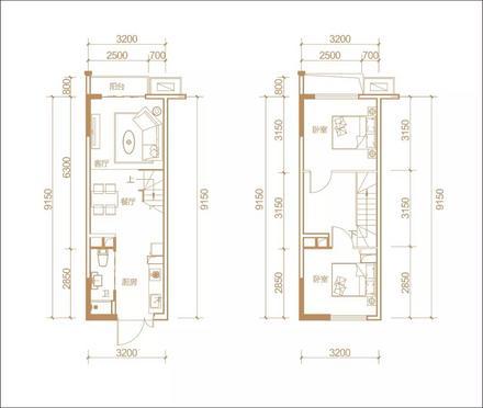 公寓A户型2房2厅2卫