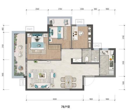 江上A户型78㎡三房
