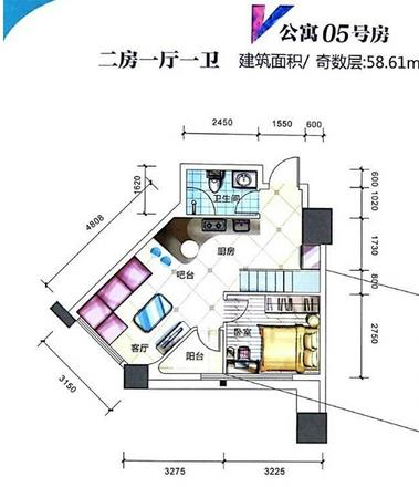 公寓5號房戶型圖58㎡