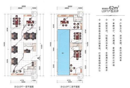 62㎡loft公寓户型图