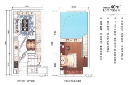 40㎡loft公寓户型图