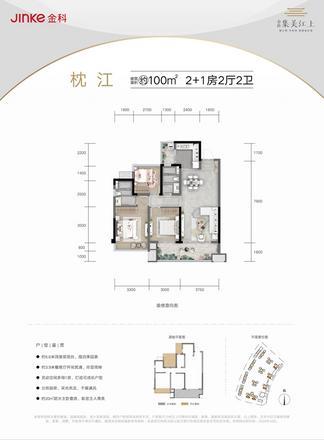 枕江约100㎡户型