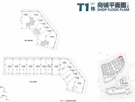 T1栋一二层商铺平面图