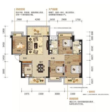 阳光城丽景湾123㎡户型