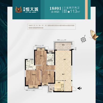 18#2~31层01户型113m²户型