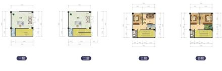 E户型258.4平米,4层,2层商铺3房