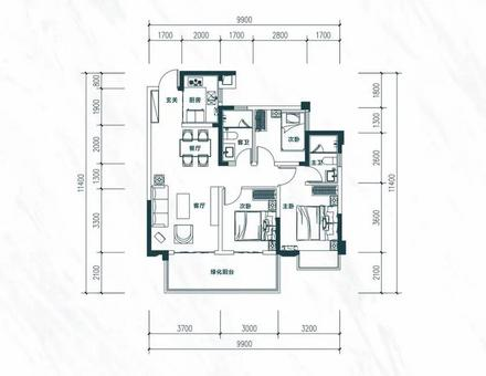 建面约95㎡三房两厅两卫