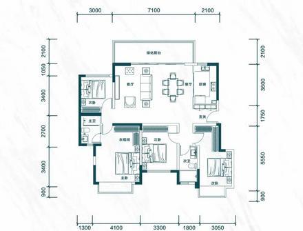 建面约145㎡四房两厅两卫|4室2厅2卫1厨1阳台