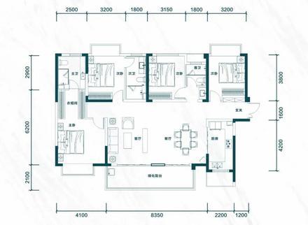 建面约166㎡四房两厅三卫|4室5厅3卫1厨1阳台