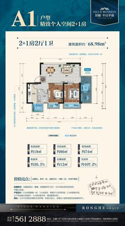 A1户型|3室2厅1卫1厨1阳台