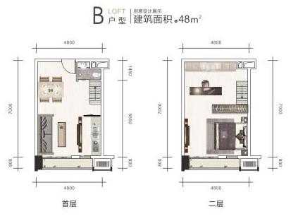 公寓B户型48㎡