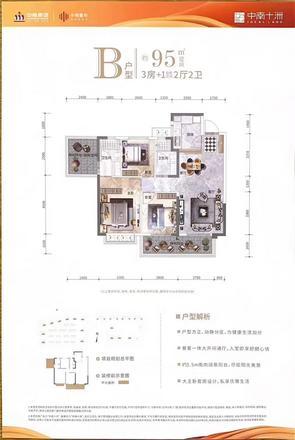 B戶型|3室2廳2衛1廚2陽臺