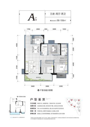 A户型|3室2厅1卫1厨1阳台