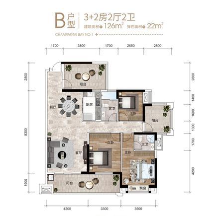 3+2房B户型