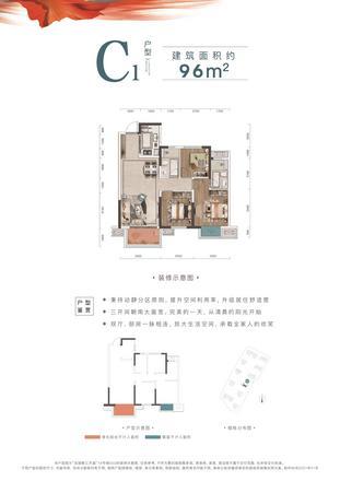 C1户型96㎡户型图