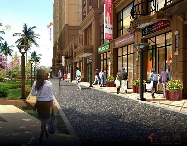 音乐喷泉广场及欧式风情小街区的商业环境