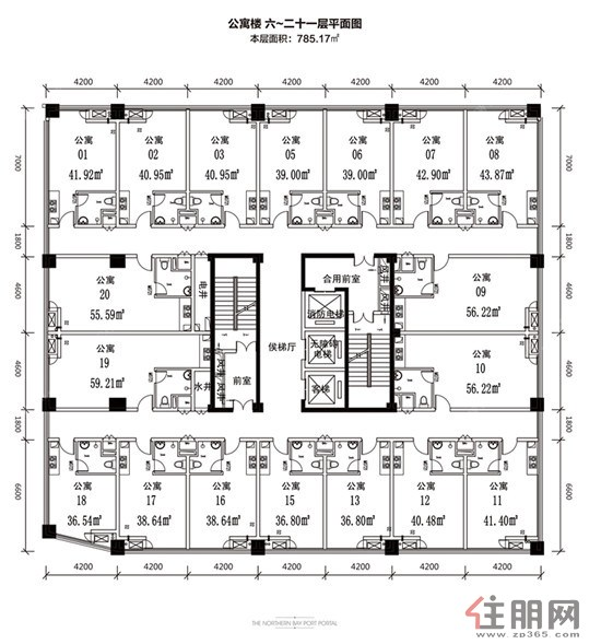北部湾地王国际公寓楼平面图