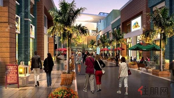 情景商业街区以15000﹐绿色休闲长廊的规划设计,打造包含开放式中庭
