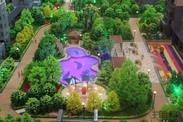 小区内的中式园林,水景景观,幼儿园图片