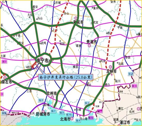 南沙至吴圩公路图