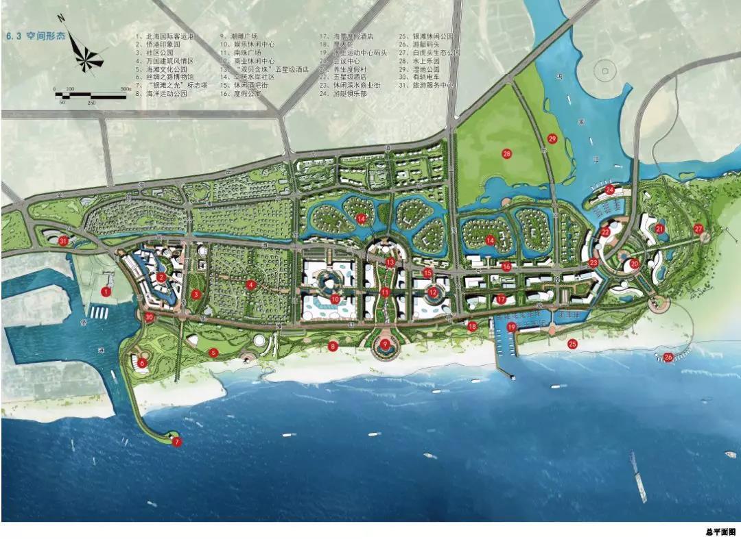 银滩中区总规划示意图