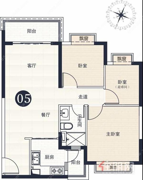 建面约94㎡三室两厅一卫户型图