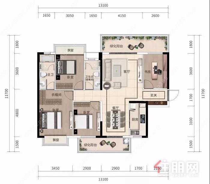 阳光城大唐檀境96~128㎡精装三至四房新品,超大观景阳台